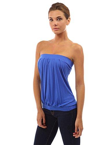PattyBoutik Mujer la tapa del tubo con pliegues Azul
