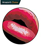 Girls Non-Slip Area Rug Pad Round,Sexy Lips of A Woman Mouth with Red Lipstick On Posing with Charming Gestures Artprint Protect Floors While Securing Rug Making Vacuuming,Round-71 Inch