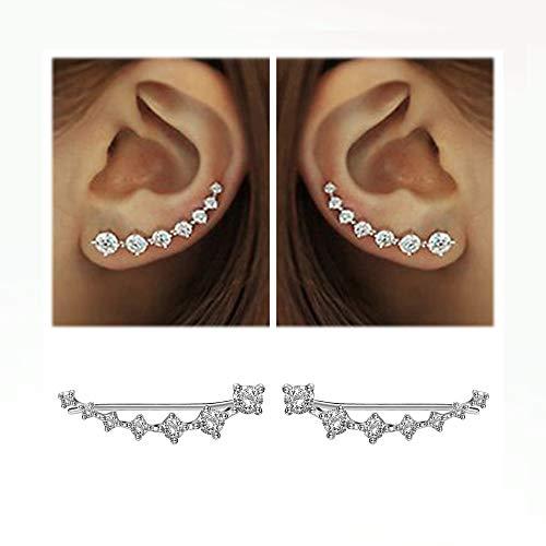 7 Crystals Ear Cuffs Hoop Climber S925 Sterling Silver Earrings Hypoallergenic Earring (White)