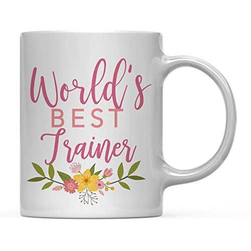 Worlds Best Trainer - Andaz Press 11oz Coffee Mug Teacher Gag Gift, Floral Flowers Design, World's Best Trainer, 1-Pack, Funny Witty Coffee Cup Birthday Christmas Graduation Present Ideas for Her