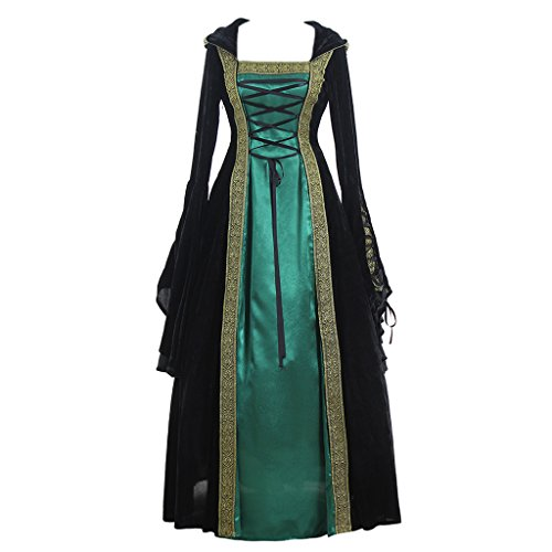 CosplayDiy Women's Medieval Renaissance Retro Gown Cosplay Costume Dress XS - Cosplay Dress Green