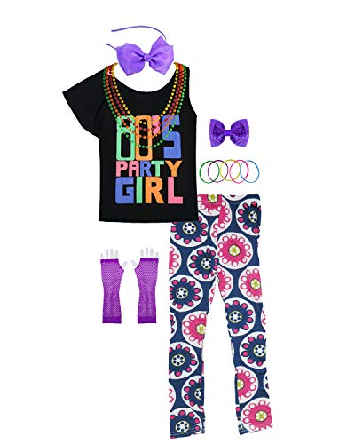 80s Party Girl Child T-Shirt Neon Leggings Complete 1980s Costume Accessories (8/10, Purple) -