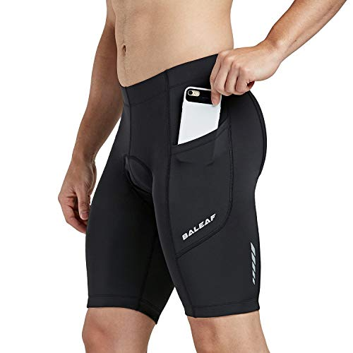 Baleaf Men's Cycling Shorts 3D Padded Bicycle Bike Pants with Side Pockets, UPF 50+ and Quick-Dry Black Size XXL
