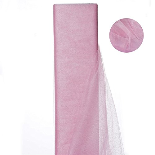 Shimmering Glitter Sparkle Dot Tulle Fabric-Pink-54 Inch X15 Yard