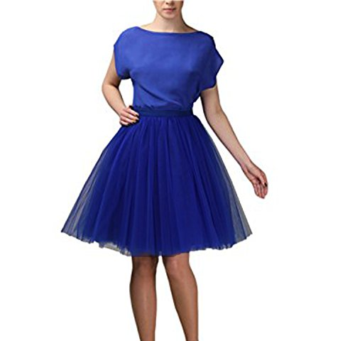 CoutureBridal? Femme Jupe Tutu 5 Couches Elastic Ceinture Princesse Tulle 55CM Bleu Saphir