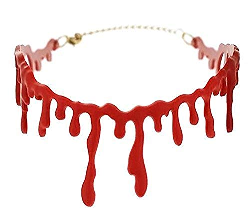 UJLN Bloody Scar Necklace/Horror Blood Drip Necklace/Throat Bleeding Necklace/Party Ladies Supplies for Halloween Mardi Gras Party Adjustable (Red) -