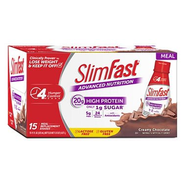 SlimFast Advanced Creamy Chocolate Ready to Drink Shakes (15 pk.) (pack of 6) by Slim-Fast