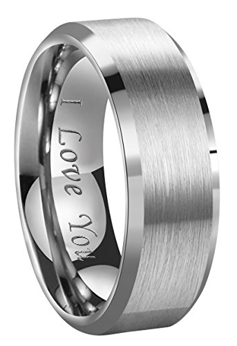 Crownal 4mm/6mm/8mm Tungsten Couple Wedding Bands Rings Men Women Brushed Finish Beveled Edges Engraved