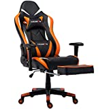 Morfan Large Size Ergonomic Executive Office Home Chair with Lumbar Massager Support &Adjustable Headrest Pillow & Retractable Footrest (Black/Orange)