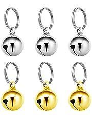 Pet Bell Pendants, 6Pcs Pet Collar Bells, Loud Pet Training Bell Pendant for Cats Dogs Necklace (Silver, Gold)