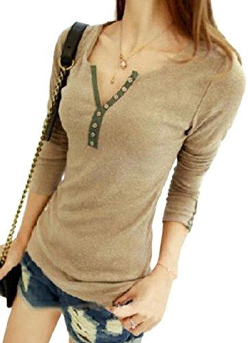 (リザウンド) ReSOUND カットソー トップス 胸元 ボタン 長袖 T シャツ 無地 シンプル カジュアル セクシー 春 秋 冬 レディース #61
