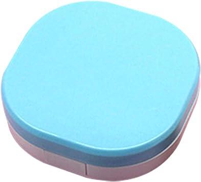 JUNGEN Caja de lentes de contacto con Diseño de color sólido Estuche de lentes de contacto de viaje con Estuche de Lentillas Pinza Aplicador Botella Espejo incorporado (Azul): Amazon.es: Salud y cuidado