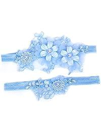 Amosfun Wedding Bride Garter Floral Leg Band Lace Pearl Decor Sky-Blue