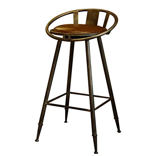 QYHCP Bar Stool with Backrest Leather Seat Chrome Footstool and Breakfast Bar Counter Kitchen and Family Bar Chair ()