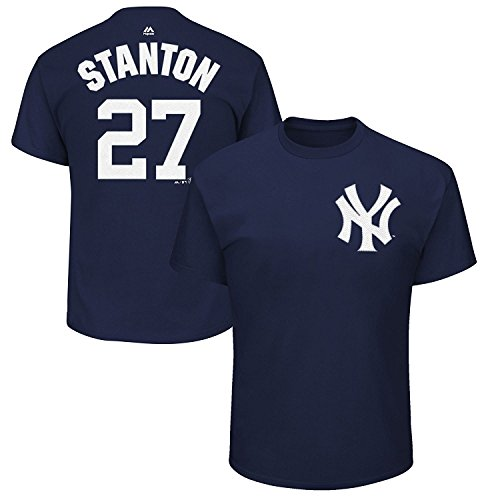 Mens Number Name Player Mlb (Giancarlo Stanton New York Yankees #27 MLB Men's Player Name & Number T-shirt (X-Large))