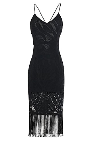 Tassel Waist Sundress Bandage Slip Coolred Backless Women Black Lace Novelty Dress 4q5xxaO