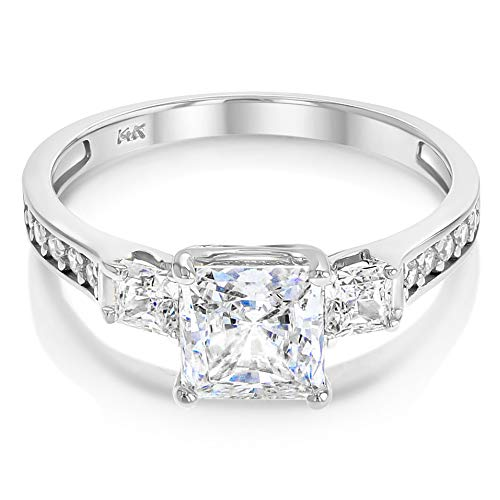 Ioka - 14K Solid White Gold 1.5 Ct. Princess Cut 3 Stone CZ Engagement Ring With Stones in Band - Size 7.5