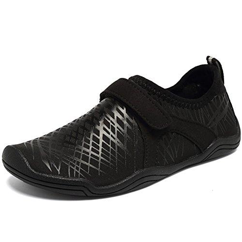 Fantiny Boys & Girls Water Shoes Lightweight Comfort Sole Easy Walking Athletic Slip on Aqua Sock(Toddler/Little Kid/Big Kid) DKSX-Black-34 by CIOR (Image #1)