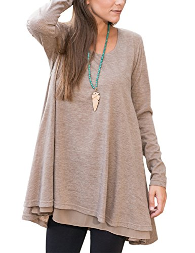 PARTY LADY Womens Lace Long Sleeve Tunic Top Shirts Layered Scoop Neck Tunic Loose Fit Size Khaki