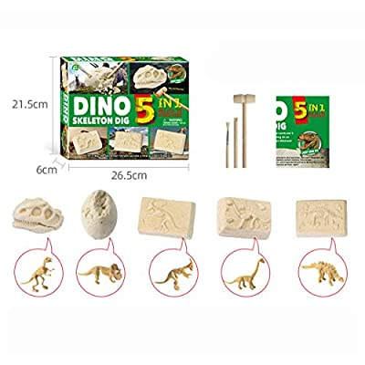 KISSOURBABY Dinosaur Toys, Dino Egg Dig Kit Kids Gifts - Break Open 5 Unique Dinosaur Eggs and Discover 5Cute Dinosaurs Technology Gifts for Boys Girls Toys: Toys & Games