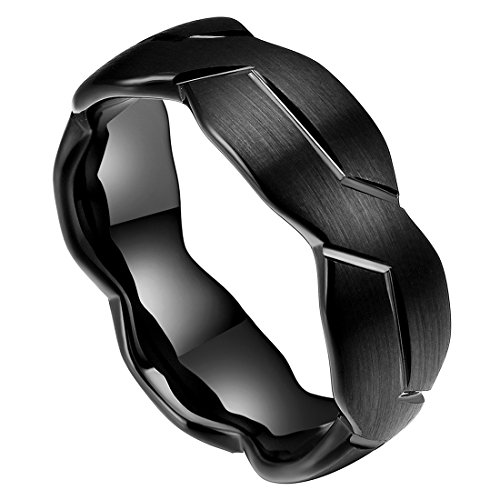 DOUX 8mm Mens Black Tungsten Carbide Ring Brushed Infinity Knot Pattern Wedding Band Comfort Fit High Polished(9.5)