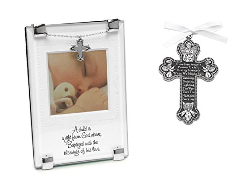 Baptism Gift for New Baby | Gift from God Baptism Photo Frame and Pewter Guardian Angel Crib Cross | Christening Gift for Boy or Girl - Pewter Angel Photo Frame Ornaments