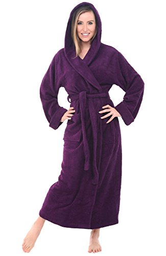 Del Rossa Women's Turkish Terry Cloth Robe, Long Cotton Hooded Bathrobe, Large XL Purple (A0127PURXL)