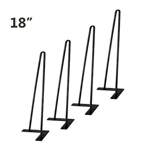 (Tengchang Solid Iron Metal Bar Baking Finish Hairpin Legs Table Desk Bench Hairpin Table Legs Black (18'') )