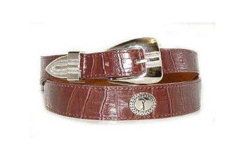 Men's Fancy Alligator Grain Leather Belt With Golfer Conchos Medium Brown