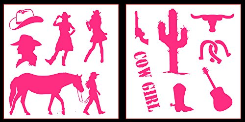 Auto Vynamics - STICKERPACK-COWGIRLS01-20-GPNK - Gloss Pink Vinyl Detailed Cowgirl / Wild West Sticker Pack - Features A Horse, Six Shooter, & Several Cowgirls! - 20-by-20-inch Sheets - (2) Piece Kit - Themed (Pink Cowgirl Sticker Sheets)