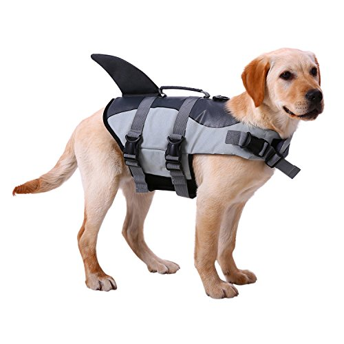 Picture of Dog Life Jackets, Ripstop Pet Floatation Life Vest for Small, Middle, Large Size Dogs, Dog Lifesaver Preserver Swimsuit for Water Safety at The Pool, Beach, Boating (Medium, Grey Shark)