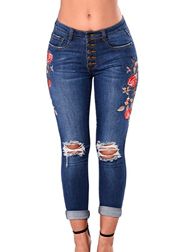 Button Fly Blue Jeans (Lady Swain Women's Denim Rose Embroidered Destroyed Frayed Hem Skinny Jeans Frayed Hem Skinny Jeans For Women (XX-Large, Dark Blue))