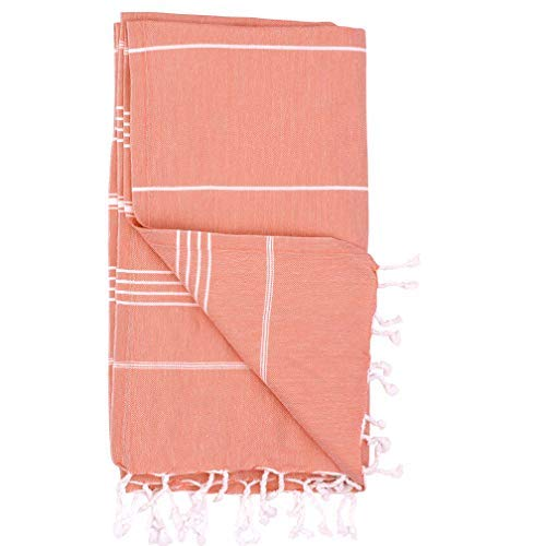 French Beach Towel - Turkish Towels by Riviera Towel Co. - Help Heal Our Oceans with A Thin Stylish Striped Beach Bath Pool Spa Towel - 100% Cotton - Coral