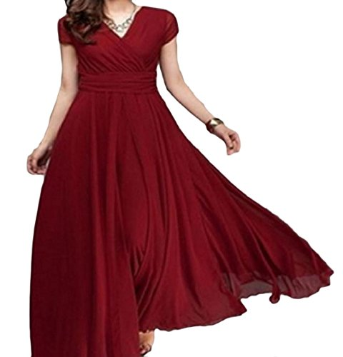 Boho Coolred Short Color Neck Red V Women Fashion Cocktail Pure Dress Sleeve EtqarE8