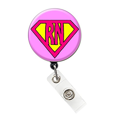 SIZZLE CITY New Custom Bling Rhinestone Americana Hello Kitty/Super Nurse Badge Reel Retractable ID Badge Holder (PINK SUPER RN)