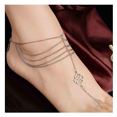 Olbye Knot Toe Ring Anklet Celtic Knot Ankle Chain Bracelet Celtic Jewelry Bare Foot Sandal Anklets ()