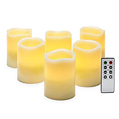 "Set of 6 Ivory Melted Edge 4"" Flameless Wax Pillar Candles with Remote"