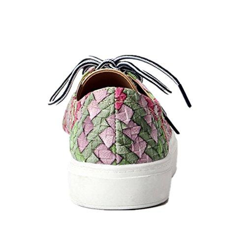Tongpu Womens Mocassini Con Lacci Intrecciati Scarpe Colore Misto Calzature Rosa