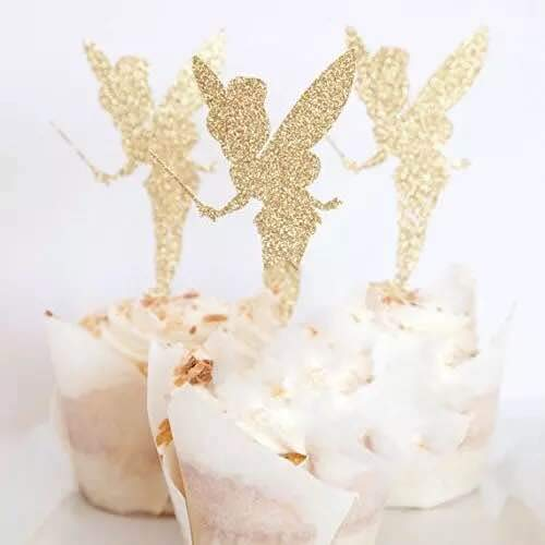 - SHAMI Handmade-Gold Glitter Pretty Ballet Dancer Fairy Peri Cupcake Toppers Baby Girls Children Kids Toddlers Teens Picnic Birthday Bridal Shower Baby Shower Wedding