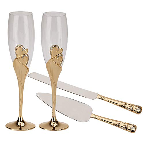 Gold Entwined Hearts Wedding Champagne Toasting Flute Glasses Including Gold Cake Knife Server Set