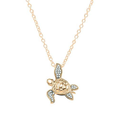 Dazzlingrock Collection 0.12 Carat (ctw) 14K Round Diamond Ladies Sea Turtle Pendant (Gold Chain Included), Rose ()