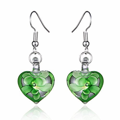 Bleek2Sheek Murano Inspired Glass Hearts and Flowers Hypoallergenic Earrings with stainless steel French ear ()