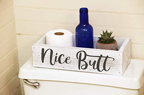 Nice Butt Bathroom Decor Box - Toilet Paper Holder - Farmhouse White Rustic! ()