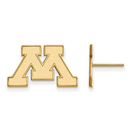 10k Yellow Gold LogoArt Official Licensed Collegiate University of Minnesota (UMN) Small Post Earrings by LogoArt