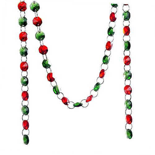 H&D 6FT Glass Crystal Red and Green 14mm Octagon Beads Chain Chandelier Prisms Hanging Wedding Garland