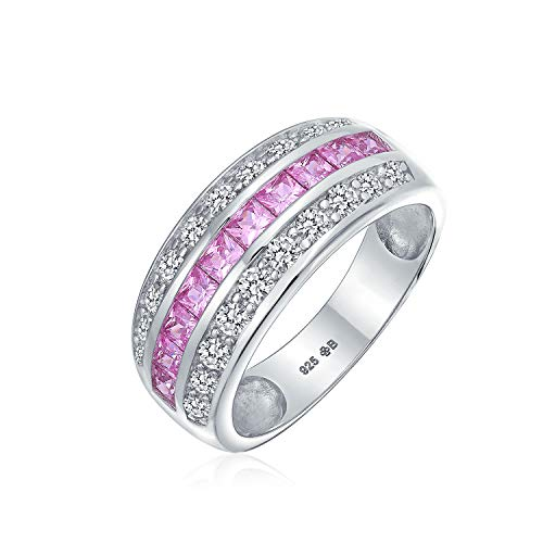 (Cubic Zirconia Channel Set Pink Princess Cut CZ Dome 3 Row Wide Statement Wedding Band Ring For Women Sterling Silver)