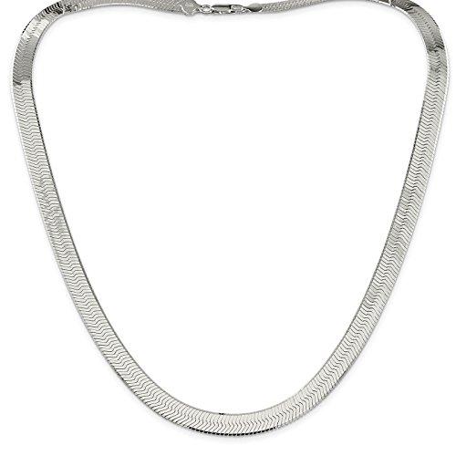 925 Sterling Silver 8.7mm Polished Herringbone Chain Necklace - Herringbone Anklet