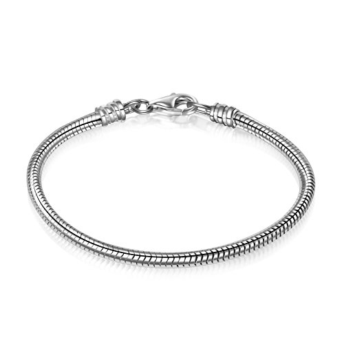 Angemiel 925 Sterling Silver Snake Chain Bracelet for European Bracelets Charms Bead -