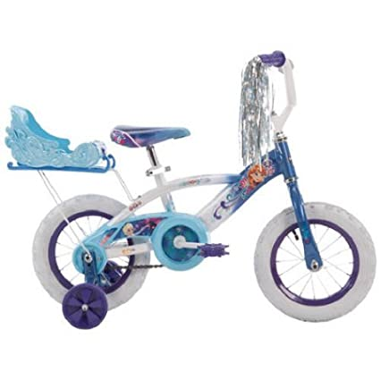 Huffy Girls' Frozen 12 Inch Bike with Sleigh, Blue, 1 Speed, Durable Steel Frame, Comfortable Padded Seat, Outdoor, For Ages 3 to 5 Years Old