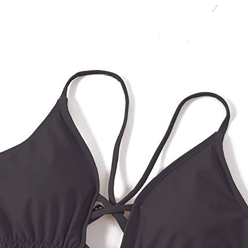 CIZITZZ Women's Sexy One Piece Swimsuit High Waisted Falbala Swimwear V Neck Adjustable Strap Bathing Suits,Black,S